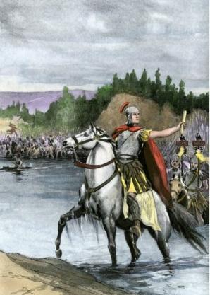 Júlio Cesar atravessando o rio Rubicão